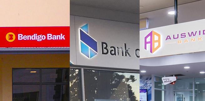 Bendigo and Adelaide Bank, the Bank of Sydney, and Auswide Bank